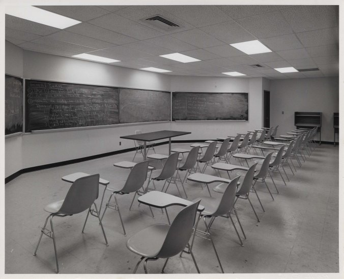 Empty classroom in 56 St. building